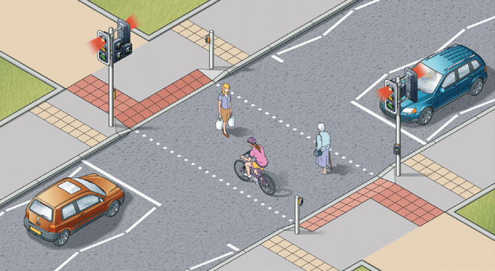 Rule 25: Toucan crossings can be used by both cyclists and pedestrians