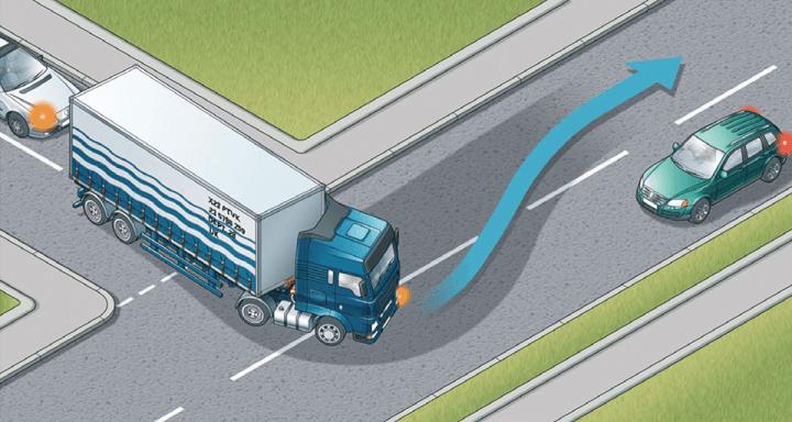 Rule 221: Large vehicles need extra room