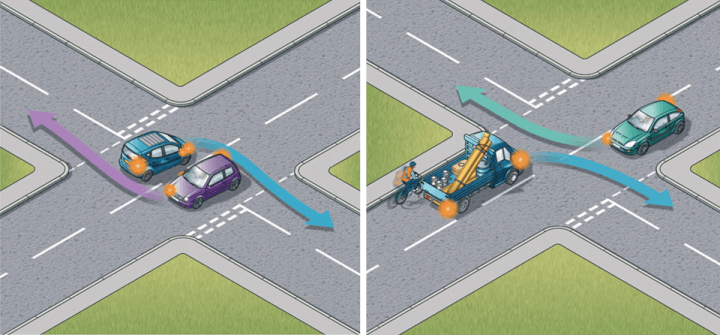 Rule 181: Left - Turning right side to right side. Right - Turning left side to left side