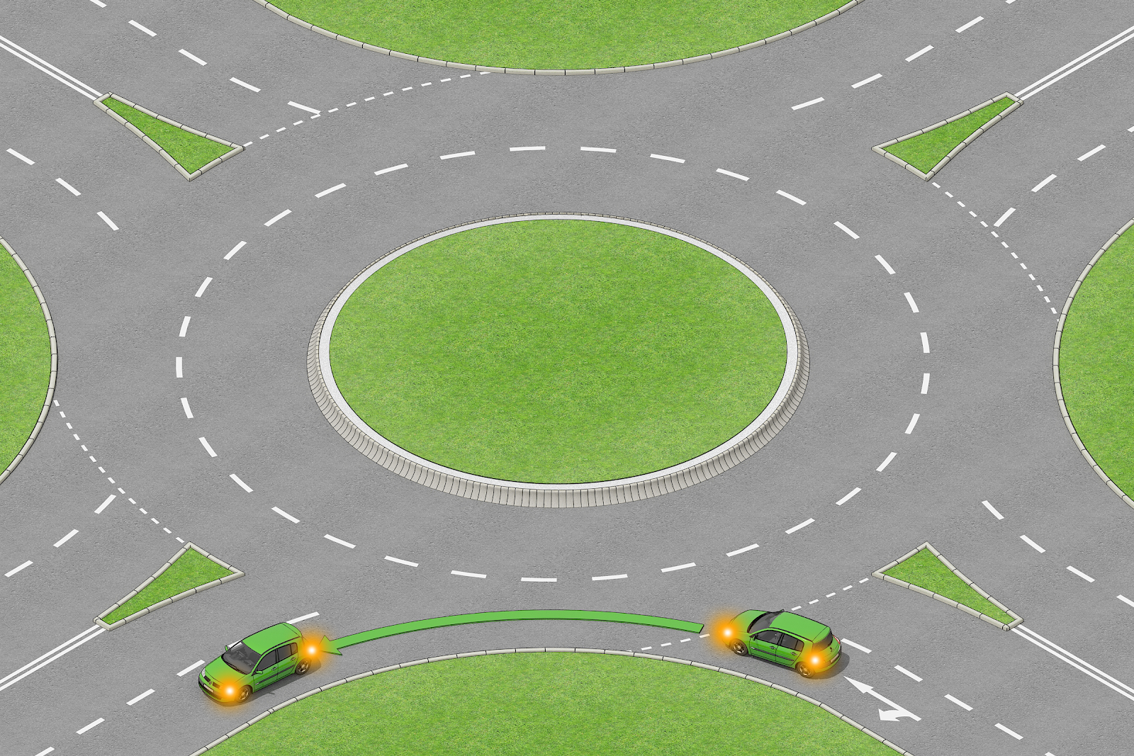 HOW TO USE THE FIRST EXIT AT A ROUNDABOUT TO TURN LEFT